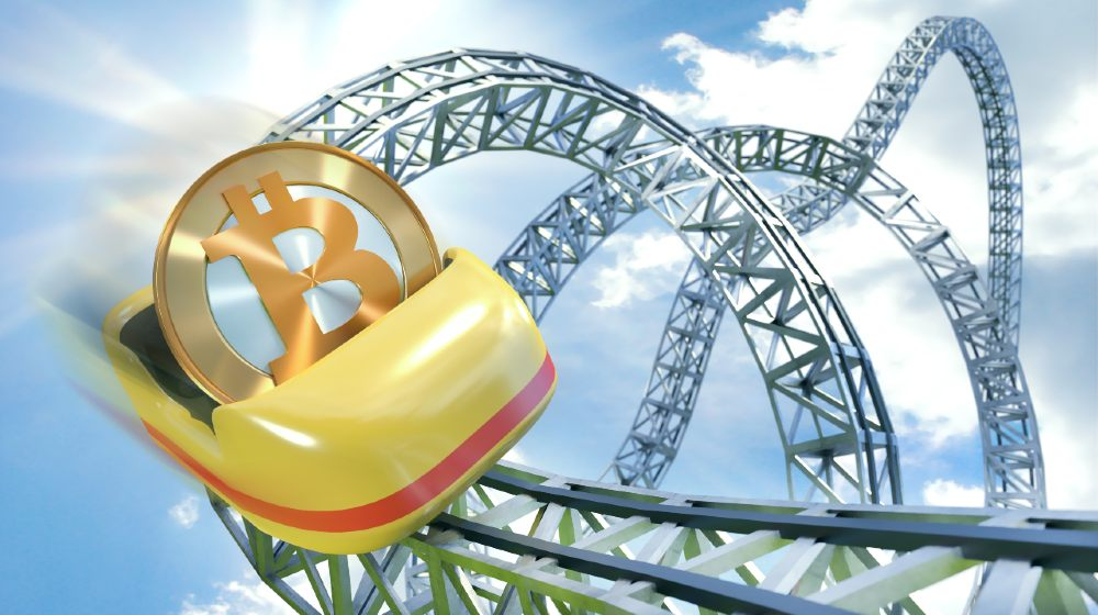Bitcoin rollercoaster dynamic scene with coin getting speed in cart-Bitcoin's Value Dropped-ss-featured