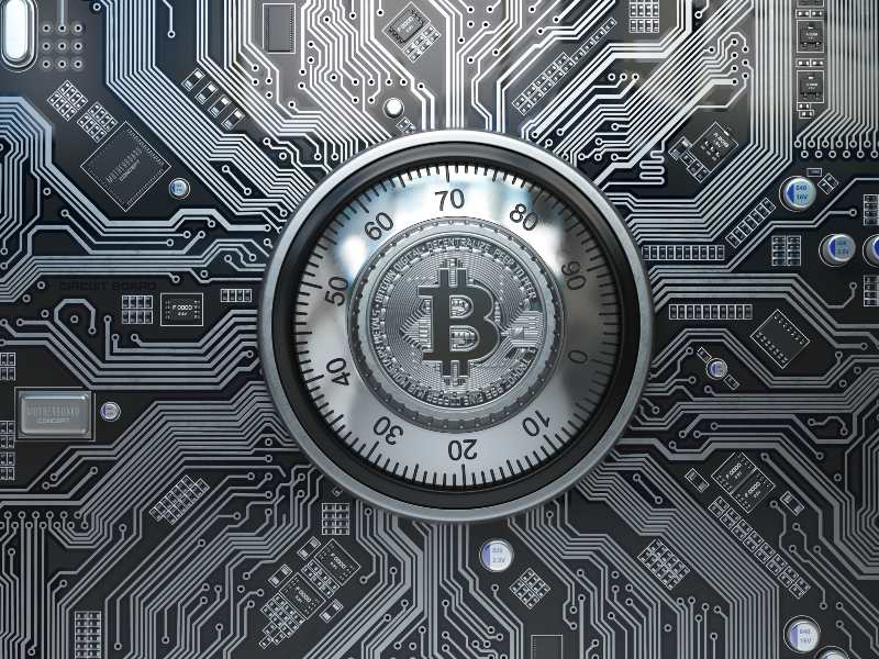 Bitcoin cryptocurrency security and mining concept-security-ss