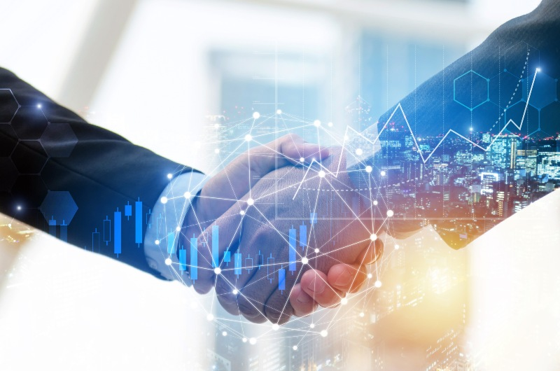 business man investor handshake with global network link connection and graph chart stock market diagram-trust-ss