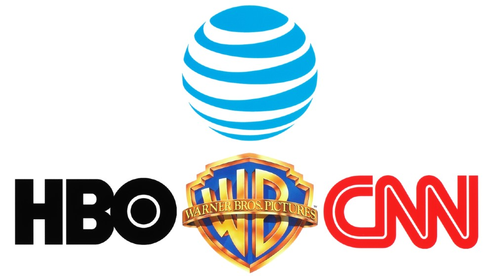 Collection of popular logos of AT&T Inc., Warner Bros, HBO and CNN on white paper | AT&T To Merge Media Assets With Discovery | Featured