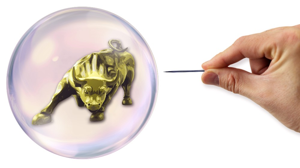 Stock Exchange Bubble about to explode by a needle