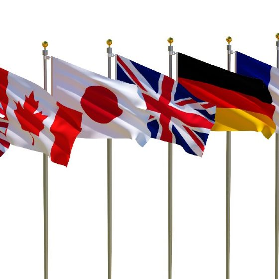 G7 flags Isolated Silk waving flags of countries of members Group of Seven Canada Germany Italy France Japan United States United Kingdom | G7 Nations Agree To 15% Minimum Corporate Tax | featured