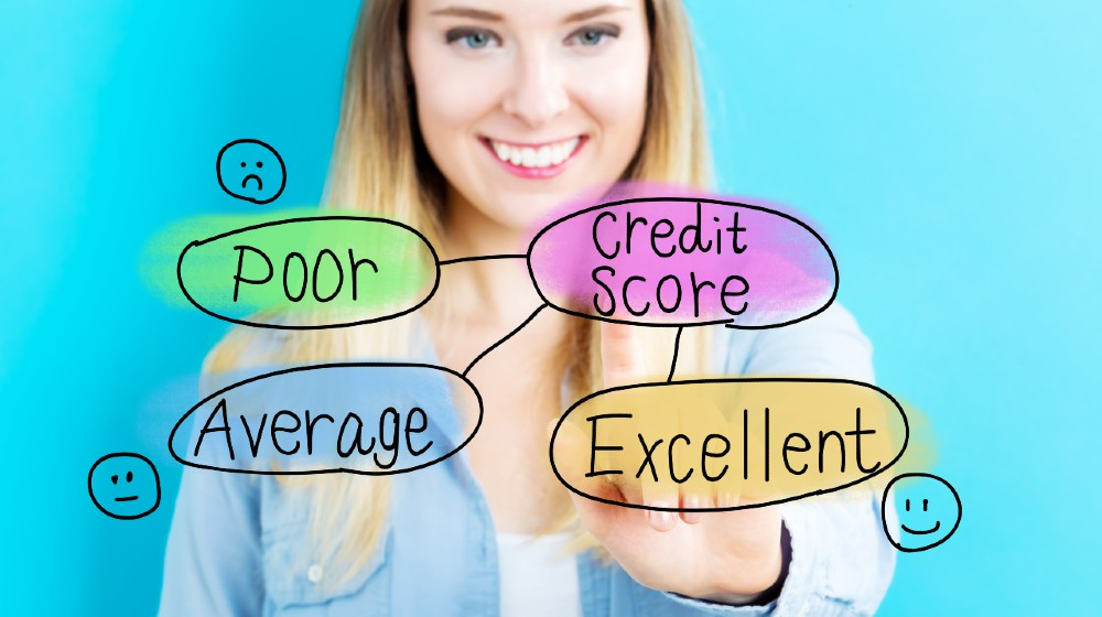 Credit Score concept with young woman on blue background | Do You Understand The 5 Components Of Your Credit Score? | featured