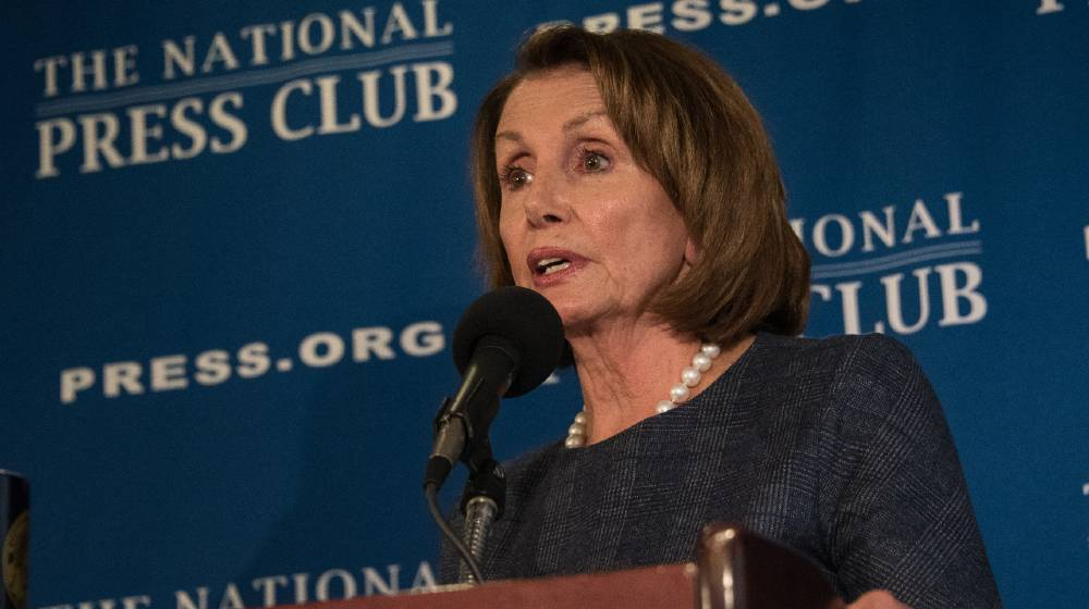 House Minority Leader Nancy Pelosi speaks to a press conference at the National Press Club | White House Rebukes Pelosi's Call For Extended Eviction Ban | featured