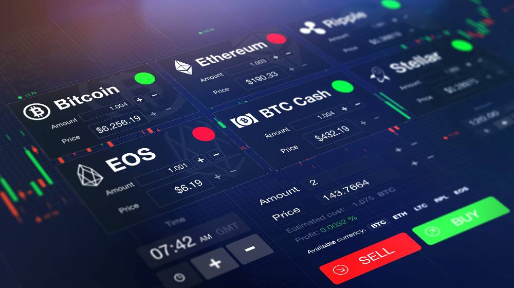 Futuristic stock exchange (crypto currency) with chart   Crypto Trading With Smart Algo's Trading Robots   featured