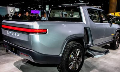 Rivian R1T Pickup truck is an all electric vehicle shown at the New York International Auto Show 2019 | Rivian Beats Tesla, GM and Ford, Releases First EV Pickup | featured